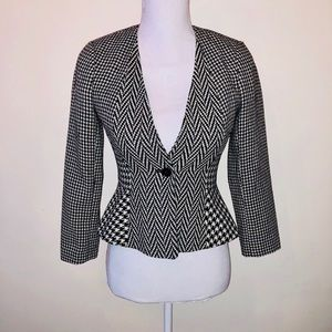 ANN TAYLOR Houndstooth Career Blazer Wool Jacket